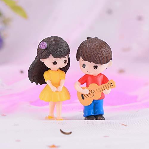 Lijiance 2 stuks gitaar liefhebbers jongen meisje poppen knutselen acht miniatuur 3D foto's decoratie poppenhuis Speelgoed kinderen verjaardagscadeautjes accessoires Yellow Girl Red Boy