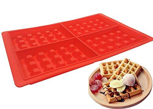 4-cavity Coque en silicone gaufré Moule, Belgian Waffle Chocolat Candy Savon antiadhésive micro-ondes lave-vaisselle congélateur – Passe au four résistant à la chaleur jusqu'à 232,2 °C