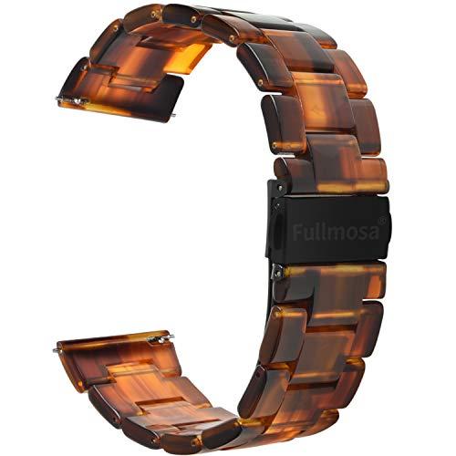 Fullmosa 5 Farben Uhrenarmband 18mm, Bright Serie Armbänder Ersatz-Watch Armband für Herren Damen 18mm Dunkler Bernstein+Rauchengrau Schnalle