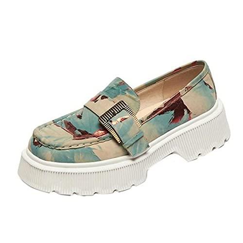 Zapatos Casuales para Mujer, Suela Suave, usable, Estampado de Grafiti, Estilo Urbano al Aire Libre, Zapatos de Plataforma Gruesos para Primavera y Verano