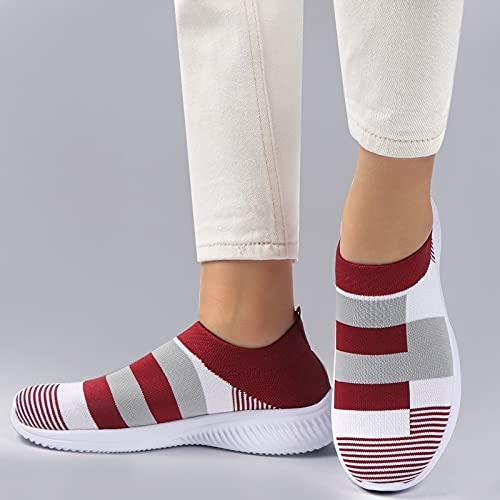 Zapatos para caminar para las mujeres Casual Lace Up Lightweight Tennis Zapatillas de deporte Zapatos Atléticos tejidos (Color : 1950RED, Shoe Size : 5)