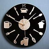 BuyBuyBuy El Creativo Cuchara Cuchillo Vajilla De Pared De La Cocina del Reloj De Moda De Estilo De Restaurante Y La Pared Tenedor Simple Reloj Mudo del Reloj De Pared Hora de soñar