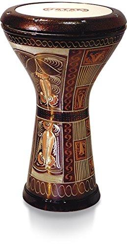Vatan 3012Ägyptische Darbuka, mit Aufdruck in Perlmutt-Optik, Größe L, Durchmesser 22 cm, silberfarben