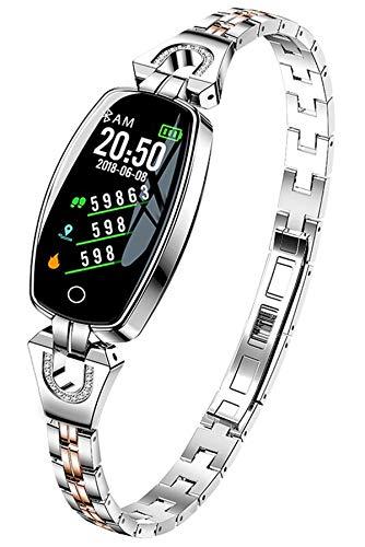 Smart Watch Fitness Tracker Damen Silber Fitness Uhr für Frauen Herzfrequenzmesser Kalorienzähler Armband Schlafüberwachung Mode Elegant