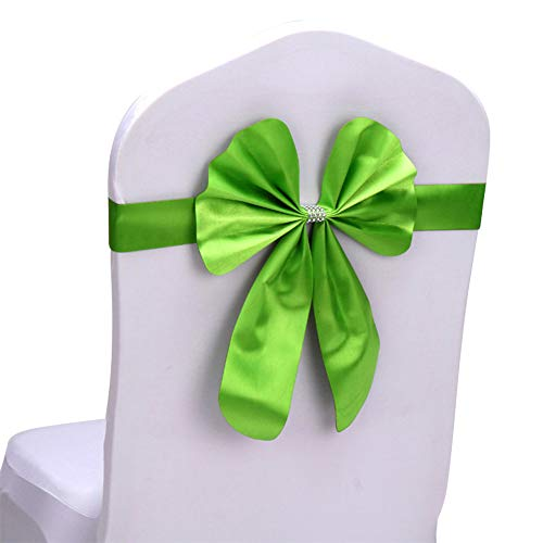 Gespout 1 Stück Elastische Spitze Stuhlbezug mit Schleife Stuhlhussen Schleifen Stuhlschärpen Schleife Satinschleife für Hochzeit Jahrestag Hause Partys Hochzeiten Lieferanten Stuhl Dekoration