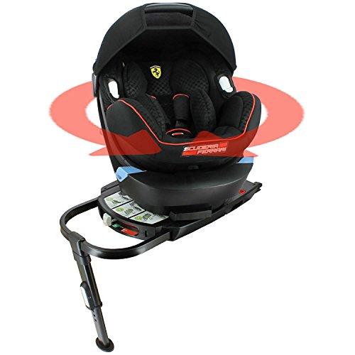 Asiento Auto Ferrari grupo 0+ (0–13kg) con base Isofix pivotante- Protecciones Laterales–cale-tête y reductor de profundidad