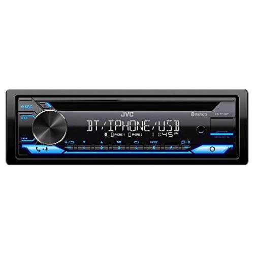 JVC KD-T710BT - CD Car Stereo, Single Din, Bluetooth Audio and Hands Free Calling w/External Microphone, CD, MP3, USB, AUX Input AM/FM Radio, High Power Amp, Amazon Alexa Voice Control