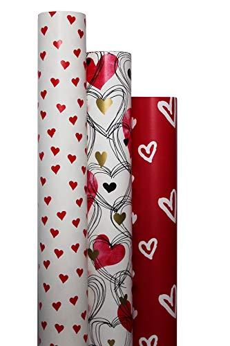 """Geschenkpapier\""""Liebe\"""" 3 Rollen im Set - 2m x 70cm in hochwertiger Papierqualität LWC 80g/m² für liebevolle Geschenke an Frauen Männer zum Valentinstag, Muttertag, Hochzeit, Jahrestag"""