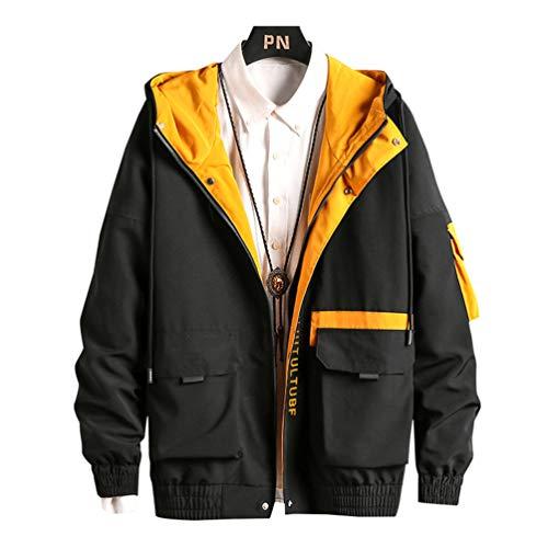 Men Hip Hop Windbreaker Coats Casual Jacket Men Cargo Bomber Jackets Streetwear Black 4XL