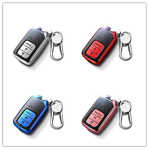 NCUIXZH Soft TPU Autoschlüsseletui , Für Honda Hrv Civic 2017 Accord 2003-2007 CRV Freed Pilot Auto Vollabdeckung Shell Zubehör-C-Schlüsselbund 1_Silber