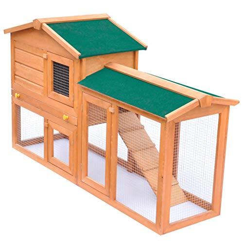 vidaXL Clapier d'Extérieur en Bois Enclos pour Lapins Cage pour Lapins