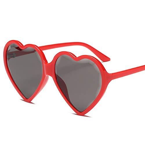 Xiaomizi Retro-Sonnenbrille, herzförmig, weiblicher Trend Pfirsichherz Brille Shake Face Street Love Sonnenbrille Gr. Herzförmig, Roter Rahmen, Grau