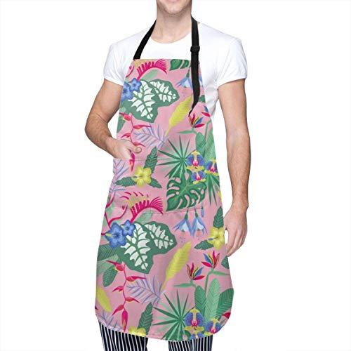 Lawenp Delantales con Babero Ajustable de Flores y Hojas Vintage Delantales de Cocina de Chef Resistentes a Las Manchas de Aceite de Agua con Bolsillos para Hombres y Mujeres