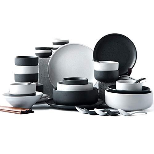 De cena, juego de vajilla, plato de cena de cerámica artesanal con puntos esmaltados de sésamo de 38 piezas, cuenco / plato / cuchara  Juego de combinación de porcelana para restaurante apto para mic