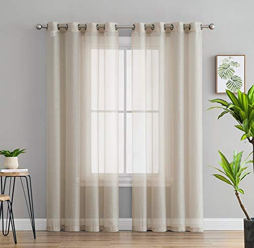 "HLC.ME 2 Piece Semi Sheer Voile Window Treatment Curtain Grommet Panels for Bedroom & Living Room (54"" W x 84"" L, Beige)"
