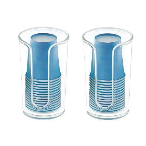 mDesign Soporte para Vasos de Usar y Tirar – Prácticos dispensadores de Vasos para Agua y Enjuague bucal – Portavasos con 14 Vasos incluidos para una higiene bucal óptima – Juego de 2 – Transparente