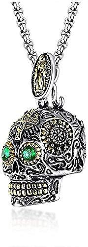 Yiffshunl Collar Mujer gótico cráneo Colgantes Collar para Hombres Acero Inoxidable Esqueleto Filigrana artesanías Piedra Verde Ojos Punk joyería Masculina