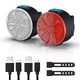 Conjunto de Luces de Bicicleta, Recargable USB, 12 Opciones de Modos de Brillo con función de Memoria ON/Off, IPX5 Faro de la Bicicleta LED a Prueba de Agua y la luz Trasera Trasera