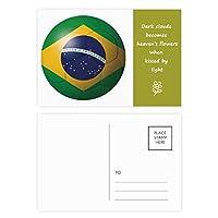 ブラジル国旗サッカーワールドカップ 詩のポストカードセットサンクスカード郵送側20個