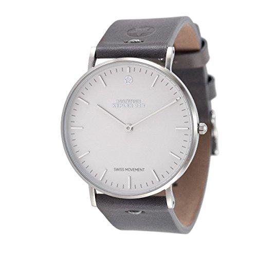 Daye/Turner Damen Uhr Analog Schweizer Uhrwerk mit Leder Armband DT-91SM23SL-33-GY
