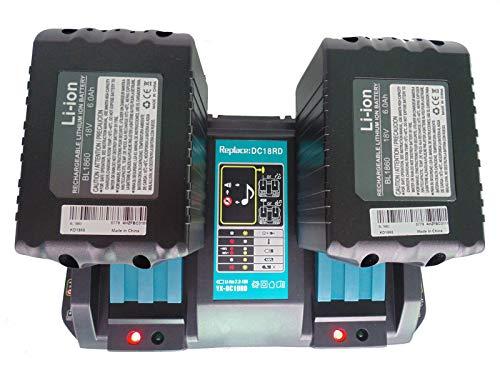 FengBP Chargeur rapide de rechange Makita DC18RD DC18RC DC18RA avec 2 batteries 18 V 6 Ah pour débroussailleuse Makita 18 V DUR181Z DUR182LZ DUR 181 BUR181Z DUR364LZ DUR361UZ DUR365UZ DLM431Z