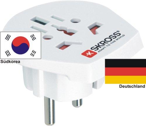 Reiseadapter - Auslandsadapter auf Deutschland Schukostecker - Strom Netz Adapter für Stecker aus Südkorea 220-230V Umwandlungsstecker Reisestecker German Travel Adapter South Korea