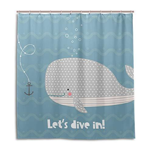 CPYang Duschvorhänge, süßer Wal Ozean Wasserdicht, schimmelresistent, Badevorhang Badezimmer Home Decor 168 x 182 cm mit 12 Haken