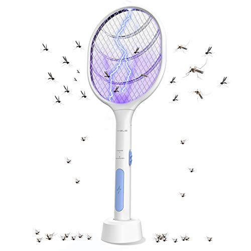 VANELC Bug Zapper, Mosquito Killer Mosquitoes Lamp & Racket 2 in 1, Electric Fly Swatter, USB Rechargeable, LED Light, Insect and Flying Bugs Trap for Home and Outdoor Powerful Grid 3-Layer Mesh