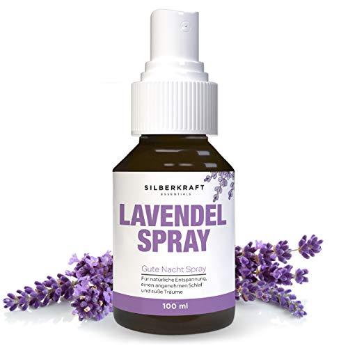 Silberkraft 100 ml Lavendelspray mit 100 % reinem Bio Lavendel, Kissenspray und Raumspray mit Lavendelöl, für Entspannung und erholsamen Schlaf
