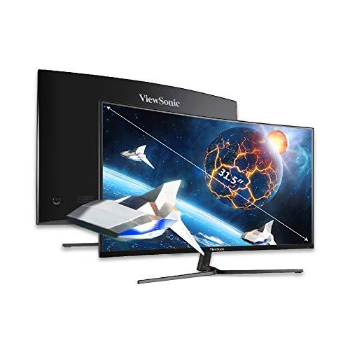 Viewsonic VX3258-2KPC-MHD 80 cm (32 Zoll) Curved Gaming Monitor (WQHD, FreeSync, 1 ms, 144 Hz, HDMI, DP, geringer Input Lag) Schwarz