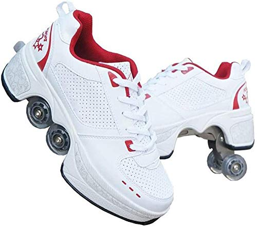 WEDSGTV Botas De Patines Ajustables De Cuatro Ruedas con Ruedas Zapatos Multiusos 2 En 1 Zapatos para Caminar,Red-41