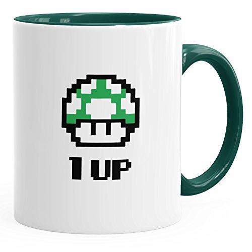 MoonWorks Kaffee-Tasse Geburtstag Retro Pixel-Pilz 1-Up-Pilz Level-Up Gaming Konsole 90er grün Unisize