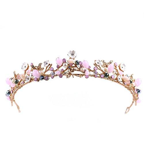 YAZILIND Flor Rhinestone imitación de la Mujer de Perlas de cumpleaños Tocado Boda Tiaras de Novia Corona (Rosa)