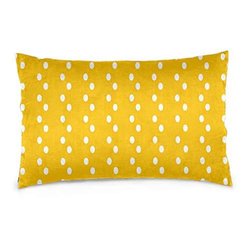 Lesif Fundas de cojín de terciopelo, rectangulares, suaves, decorativas para sofá, dormitorio, coche, 16 x 24 pulgadas (moderno patrón de puntos abstractos amarillos)