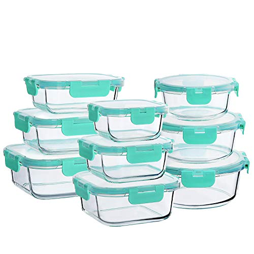 Bayco Glass Food Storage Containers with Lids, [18 Piece] Glass Meal Prep Containers, Airtight Glass Lunch Bento Boxes, BPA-Free & Leak Proof (9 lids & 9 Containers)