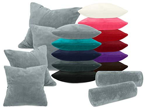 laken24 Kissenhüllen aus Coral-Kuschel-Fleece (2 Stück) - in 11 Unifarben - in 3 Größen, ca. 40 x 15 cm, grau
