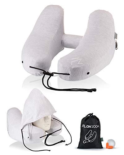 NEU: Nackenkissen aufblasbar von FLOWZOOM® mit Baumwoll-Bezug | Nacken-Kissen Flugzeug | Aufblasbares Nackenkissen Reisekissen Nackenhörnchen mit Kapuze für Langstreckenflüge
