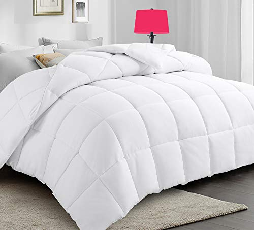 PARKOL All-Season Queen Down Alternative Quilted Comforter Ultra Soft Duvet Insert with Corner Tabs - Lightweight Warm & Fluffy - Plush Microfiber Fill - Machine Washable(White,88 x 88 inches)