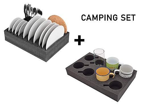 SCHAUMEX® Camping Set - Tellerhalter und Besteckhalter mit Platz für 12 Teller + Tassenhalter XL für Platz bis zu 8 Stück - Für Camping, Wohnmobile, Wohnwagen und Boote - extrem leicht und robust