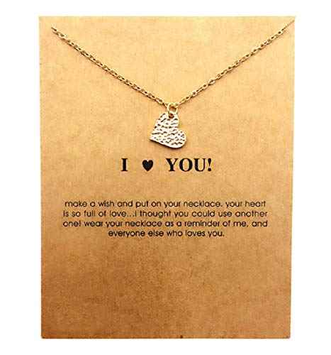 Clavicle Necklace with Card, Small Dainty Pendant,Greeting Card with Best Wish, Delicate and Classy Party Jewelry Favors, Alloy