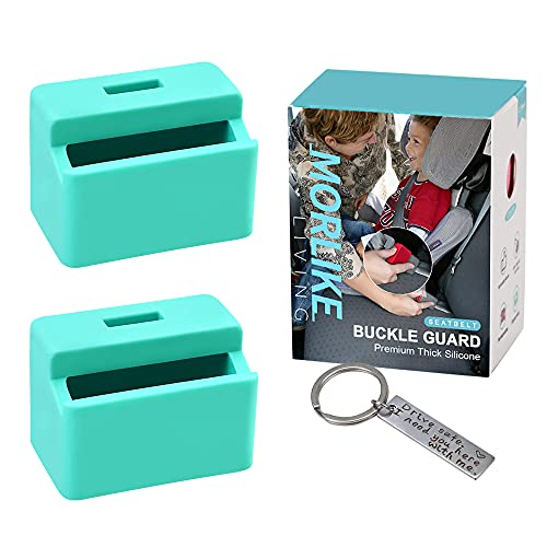 Morlike Silicone Seatbelt Secure Buckle Safety Cover Lock | Keep Children Safe in Car Seat and Prevent Kids from Accidentally Unbuckling | Buckle Guard Fits Almost Vehicles (Light Blue, 2 Pack)