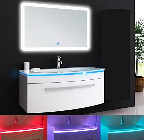 Oimex Jasmin 70 cm Badmöbel Set mit LED Spiegel Hochglanz Weiß Badezimmer Set mit viel Stauraum LED Waschtisch Glaswaschbecken