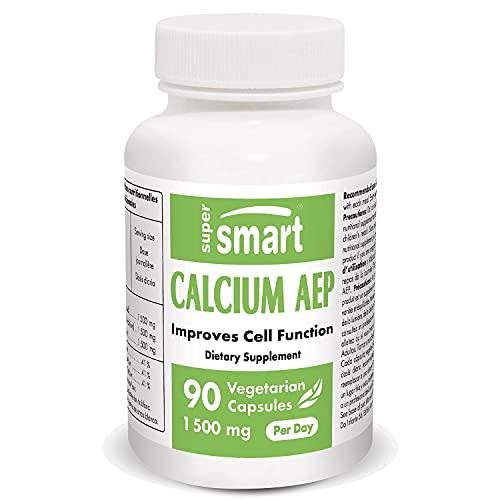 Supersmart - Calcium AEP 1500 mg Par Jour - Un Complément de Calcium Vital pour les Membranes Cellulaires | Sans OGM - 90 Capsules Végétariennes