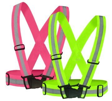 D-CLICK TM Reflective Vest (2 Pack) for High Visibility 24/7 ?4X Free arm / leg bands ) (Reflective Vest-Green-and-Pink, Regular)