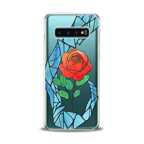 Lex Altern TPU Case Compatible for Samsung s21 Ultra s20 FE S10 Plus Note 10 s9 s8 Rose Flower Lightweight Art Kids Beauty Beast Slim fit Soft Clear Figure Smooth Print Floral Design Cover Mosaic