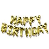 Banner de globos de feliz cumpleaños (letras doradas en 3D), letras de lámina de Mylar | Decoración inflable para fiestas y eventos para niños y adultos | Reutilizable, diversión ecológica