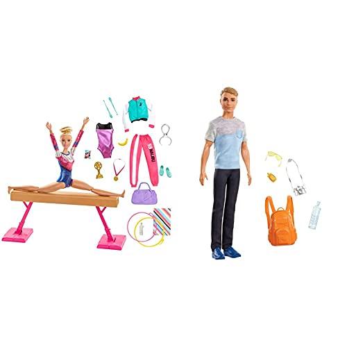 Barbie Olimpíadas, Muñeca Gimnasta, Barra De Equilibrios De Juguete Y Más De 15 Accesorios + Vamos De Viaje, Muñeco Ken con Accesorios, Regalo para Niñas Y Niños 3-9 Años