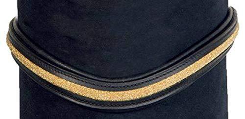 HKM 4000315693245 hoofdband -glitter-9172 zwart/goud warm bloed