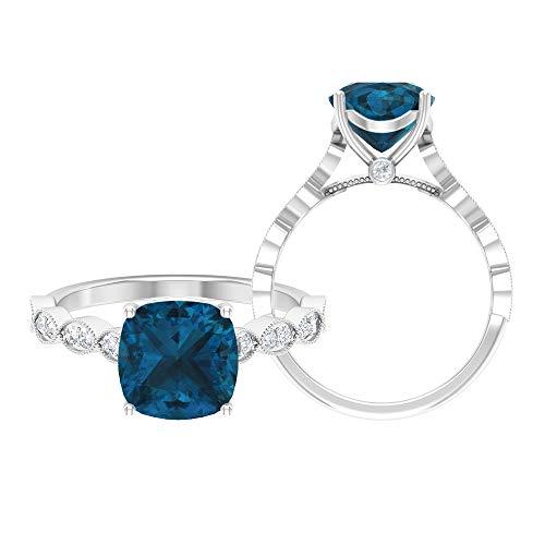 Rosec Jewels 14 quilates oro blanco cojín Round Brilliant Blue Moissanite Topacio azul - Londres