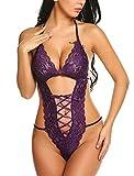 Avidlove Teddies Lingerie for Women Deep V Halter One Piece Lace Bodysuit Purple M